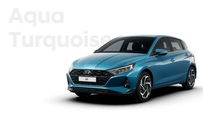 Front right view of the all-new Hyundai i20, Aqua Turquoise colour scheme