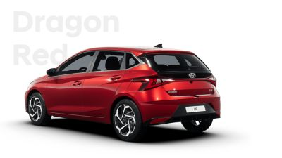 Back left view of the all-new Hyundai i20, Dragon Red colour scheme