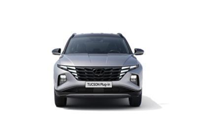 The all-new Hyundai TUCSON Plug-in Hybrid compact SUV pictured from the rear.